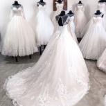 Новое свадебное платье со шлейфом пудра, Ростов-на-Дону