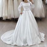 Свадебное платье со шлейфом - атлас, Ростов-на-Дону