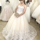 Новое свадебное платье со шлейфом в цвете пудра, Ростов-на-Дону
