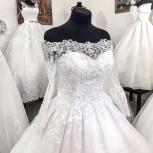 Кружевное свадебное платье со шлейфом и рукавом, Ростов-на-Дону